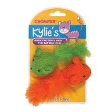 Kylie's Brights Knit Mouse with Feathers Cat Toy - 2-Pack