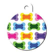Large Circle Engravable Pet I.D. Tag - Multiple Bones
