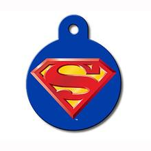 Large Circle Engravable Pet I.D. Tag - Superman Blue
