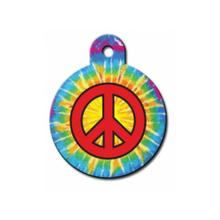 Large Circle Engravable Pet I.D. Tag - Tie Dye Peace