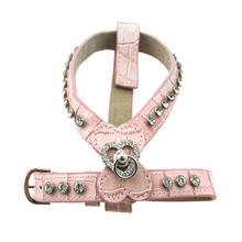 Leather Rhinestone Dog Harness - Pink