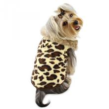Leopard Print Dog Vest with Fur Collar by Klippo