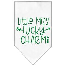Little Miss Lucky Charm Screen Print Dog Bandana - White