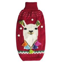 Happy LLama Alpaca Dog Sweater by Alqo Wasi - Red