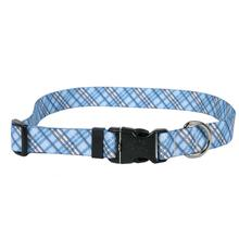 London Plaid Dog Collar by Yellow Dog - Light Blue