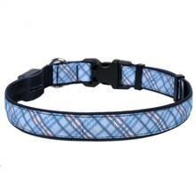 London Plaid Orion LED Dog Collar by Yellow Dog - Light Blue