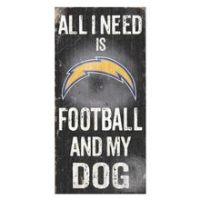 Los Angeles Chargers Football and My Dog Wood Sign