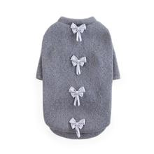 Dainty Bow Dog Sweater by Hello Doggie - Pewter Gray