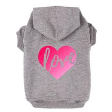 Love Heart Dog Hoodie - Gray