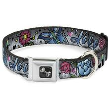 Love Love Seatbelt Buckle Dog Collar by Buckle-Down - Gray