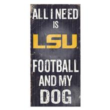 LSU Tigers Football and My Dog Wood Sign