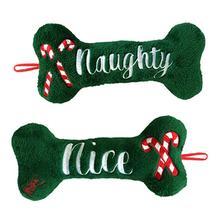 Lulubelles Holiday Power Plush Dog Toy - Naughty and Nice Bone