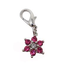 Luxe Flower D-Ring Pet Collar Charm by foufou Dog - Pink