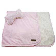 Luxe Sherpa Puppy Blanket and Toy Set - Baby Pink