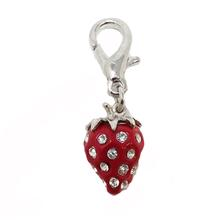 Luxe Strawberry D-Ring Pet Collar Charm by foufou Dog - Red