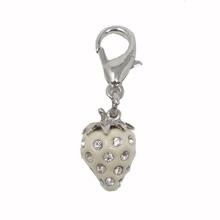 Luxe Strawberry D-Ring Pet Collar Charm by foufou Dog - White