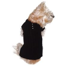 Luxury Preppy Polo Cable Knit Dog Sweater - Black