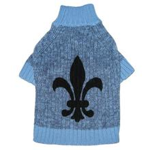 Fleur de Lys Dog Sweater by Ruffluv NYC - Blue