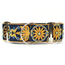 Mandala Star Wide Martingale Dog Collar by Diva Dog - Tuscan Lemon