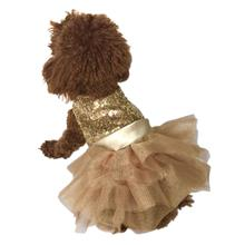 Marilyn Sequin Fufu Tutu Dog Dress - Light Gold