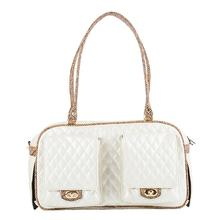 Marlee Quilted Dog Carrier by Petote - Ivory with Snake Trim