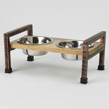 Martinique Elevated Pet Diner - Natural/Rubbed Bronze