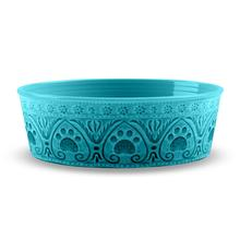 Medallion Paw Print Pet Bowl by TarHong - Teal