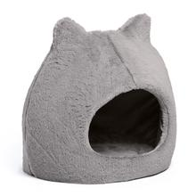Meow Hut Fur Cat Bed - Gray