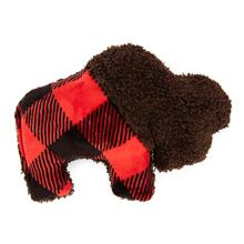 Merry Bison Dog Toy by West Paw - Red Checkered