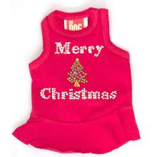 Merry Christmas Tree Rhinestone Holiday Dog Dress - Red