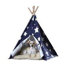 Merry Products Dog and Cat Teepee - Blue with White Stars