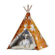 Merry Products Dog and Cat Teepee - Orange Puzzle