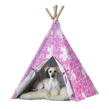 Merry Products Dog and Cat Teepee - Pink Puzzle