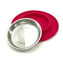 Messy Mutts Cat Single Bowl Silicone Feeder - Red