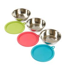 Messy Mutts Dog Bowl Saver Box Set - 3 Stainless Steel Bowls + 3 Silicone Lids
