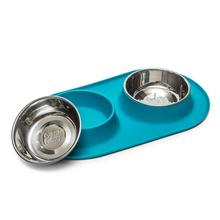 Messy Mutts Double Bowl Silicone Dog Feeder - Blue
