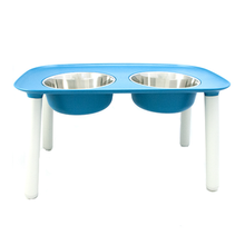 Messy Mutts Elevated  Double Pet Feeder - Blue