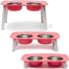 Messy Mutts Elevated  Double Pet Feeder - Watermelon
