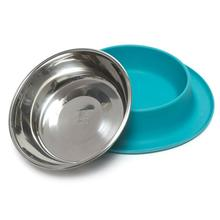 Messy Mutts Single Bowl Silicone Dog Feeder - Blue