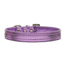 Metallic Two Tiered Dog Collar with 10MM Letter Strap - Purple