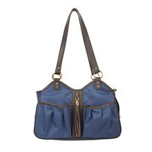 Metro Tassel Classic Dog Carrier by Petote - Navy with Brown Trim