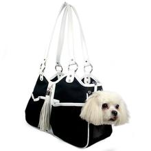 Metro Tassel Classic Dog Carrier by Petote - Black and White