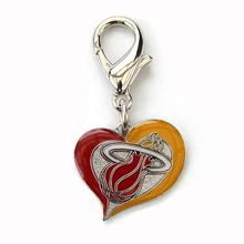 Miami Heat Swirl Heart Dog Collar Charm
