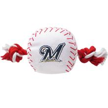 Milwaukee Brewers Nylon Plush Baseball Rope Dog Toy