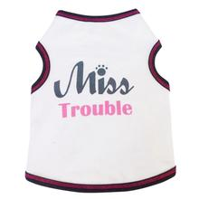 Miss Trouble Dog Tank - White