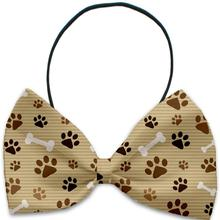 Mocha Paws and Bones Dog Bow Tie