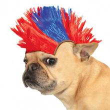 Mohawk Dog Wig - Blue and Red