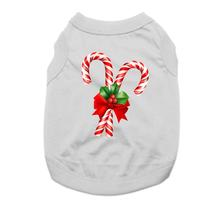 Candy Cane Holiday Dog Shirt - Gray