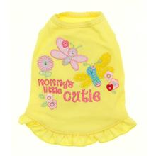 Mommy's Little Cutie Embroidered Dress by Cha-Cha Couture - Yellow