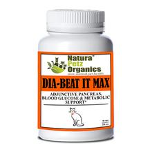 Natura Petz Organics Dia-Beat-It Max! Pancreas, Blood Glucose & Metabolic Support for Cats - Turkey Flavor, 90 Caps